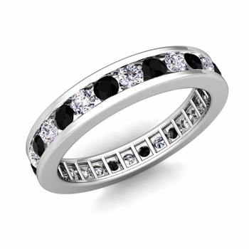 Channel Set Black and White Diamond Eternity Band in Platinum