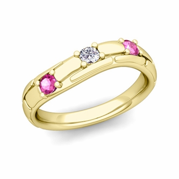 Organica 3 Stone Diamond Pink Sapphire Wedding Ring in 18k Gold, 3mm