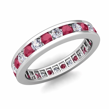 Channel Set Diamond and Ruby Eternity Band in Platinum