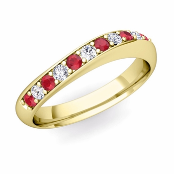 Curved Diamond and Ruby Wedding Ring in 18k Gold, 4mm