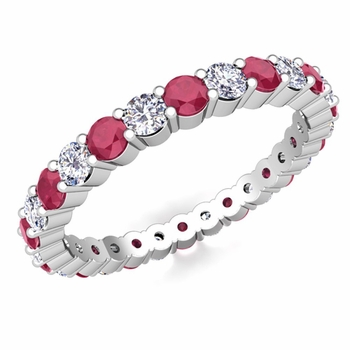 Pave Set Diamond and Ruby Eternity Band in 14k Gold