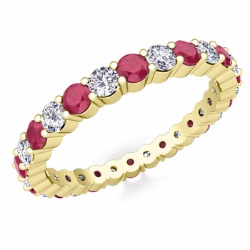 Pave Set Diamond and Ruby Eternity Band in 18k Gold