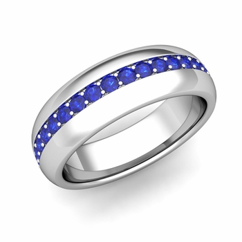 Pave Set Comfort Fit Sapphire Wedding Band Ring in Platinum, 5.5mm