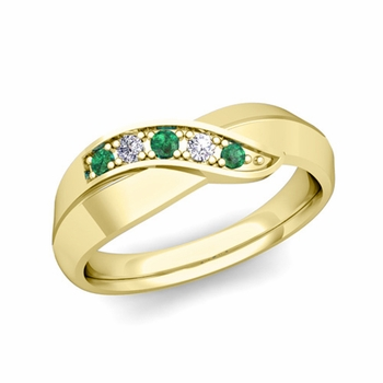5 Stone Emerald and Diamond Wedding Ring in 18k Gold Infinity Ring Band, 5.2mm