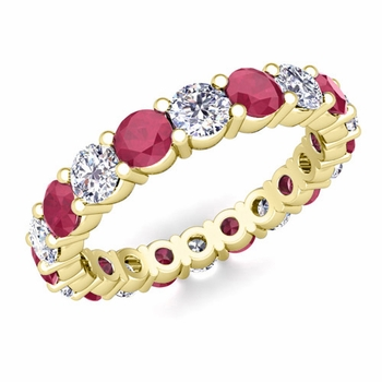 Diamond and Ruby Eternity Ring Band in 18k Gold