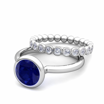 Bezel Set Blue Sapphire Ring and Diamond Wedding Ring Bridal Set in Platinum, 7mm