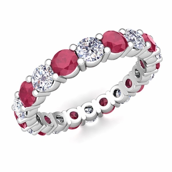 Diamond and Ruby Eternity Ring Band in Platinum