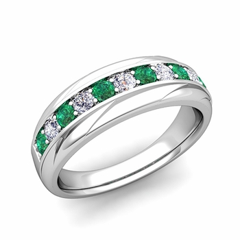 Brilliant Diamond and Emerald Wedding Ring Band in Platinum, 6mm