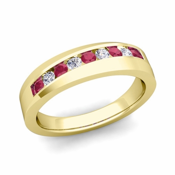 Channel Set Diamond and Ruby Wedding Band in 18k Gold, 4mm