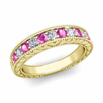 Vintage Inspired Diamond and Pink Sapphire Wedding Ring Band in 18k Gold