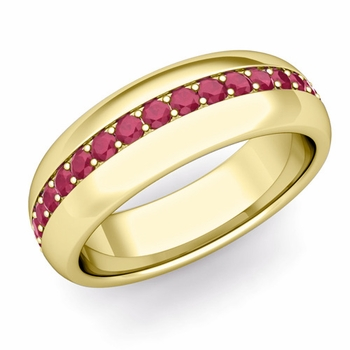 Pave Set Comfort Fit Ruby Wedding Band Ring in 18k Gold, 5.5mm
