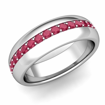 Pave Set Comfort Fit Ruby Wedding Band Ring in Platinum, 5.5mm