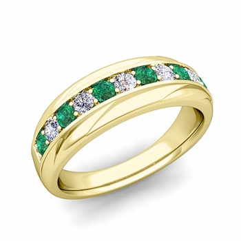 Brilliant Diamond and Emerald Wedding Ring Band in 18k Gold, 6mm