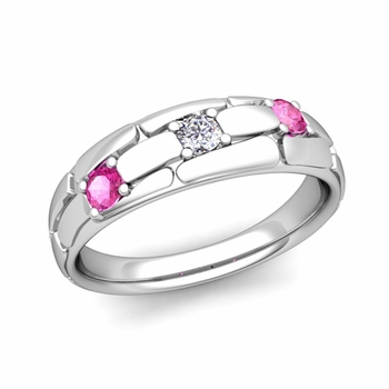 Organica 3 Stone Diamond Pink Sapphire Wedding Band in 14k Gold, 6mm