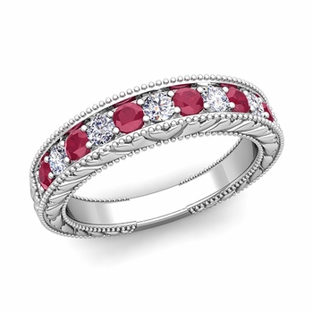 Vintage Inspired Diamond and Ruby Wedding Ring Band in 14k Gold