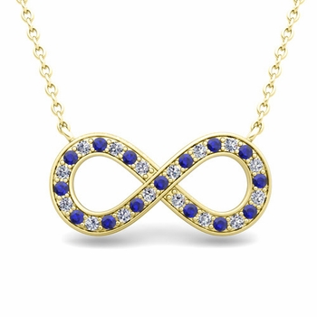 Classic Diamond and Sapphire Necklace in 18k Gold Infinity Pendant