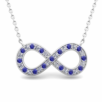 Classic Diamond and Sapphire Necklace in 14k Gold Infinity Pendant