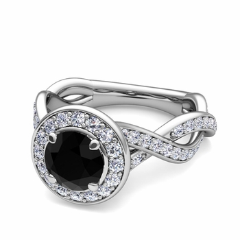 Infinity Black and White Diamond Halo Engagement Ring in 14k Gold, 7mm