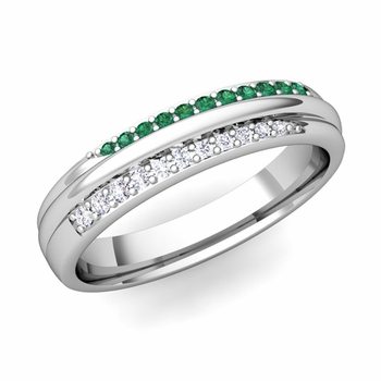 Brilliant Pave Diamond and Emerald Wedding Ring in Platinum, 3.5mm