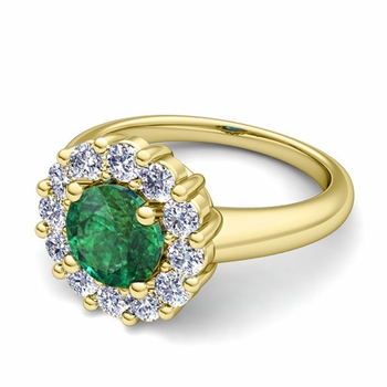 Emerald and Halo Diamond Engagement Ring in 18k Gold, 5mm