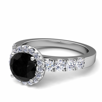 Brilliant Pave Set Black and White Diamond Halo Engagement Ring in 14k Gold, 7mm