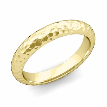 Dome Comfort Fit Wedding Band in 18k White or Yellow Gold, Hammered Finish, 4mm