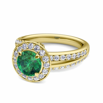 Wave Diamond and Emerald Halo Engagement Ring in 18k Gold, 7mm