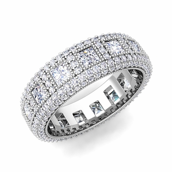 Pave Diamond and Princess Cut Diamond Eternity Band in Platinum, 6mm