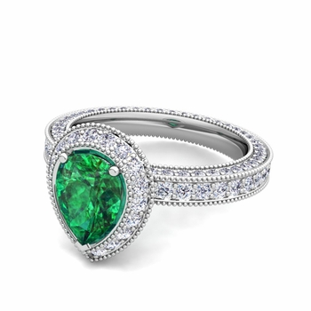 Milgrain Pear Shaped Emerald and Diamond Engagement Ring in Platinum, 7x5mm