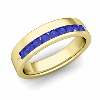 Channel Set Mens Comfort Fit Sapphire Wedding Band in 18k Gold, 5mm