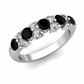 Garland Black and White Diamond Wedding Ring in 14k Gold