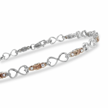 Diamond Heart Bracelet in 10k Two Tone Gold H, SI-I, 0.23 cttw, 7 inches