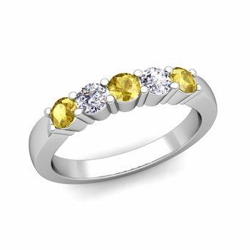5 Stone Diamond and Yellow Sapphire Wedding Ring in 14k Gold