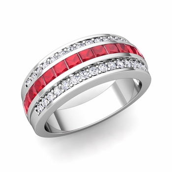 Princess Cut Ruby and Pave Diamond Wedding Ring in Platinum, 7mm