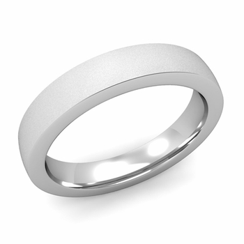 Flat Comfort Fit Wedding Band in 14k White or Yellow Gold, Satin Finish, 4mm