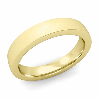 Flat Comfort Fit Wedding Band in 18k White or Yellow Gold, Satin Finish, 4mm
