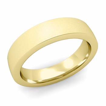 Flat Comfort Fit Wedding Band in 18k White or Yellow Gold, Satin Finish, 5mm