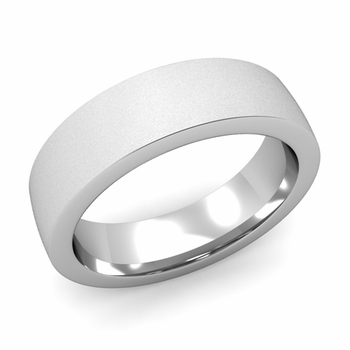 Flat Comfort Fit Wedding Band in 18k White or Yellow Gold, Satin Finish, 6mm