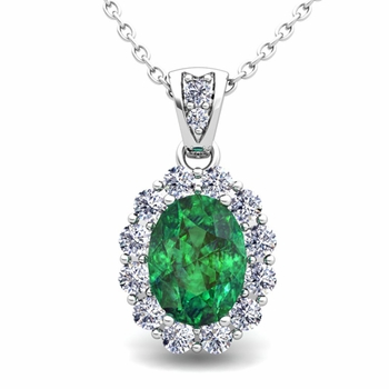 Halo Diamond and Emerald Necklace in 14k Gold Pendant 8x6mm