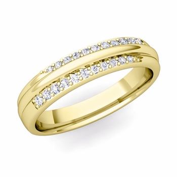 Brilliant Pave Diamond Wedding Ring in 18k Gold, 3.5mm