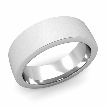 Flat Comfort Fit Wedding Band in 14k White or Yellow Gold, Satin Finish, 7mm