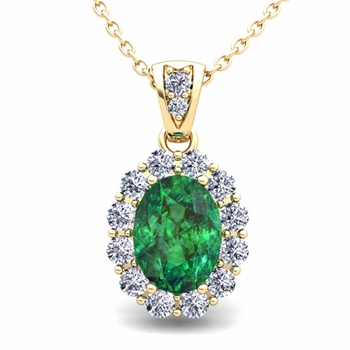 Halo Diamond and Emerald Necklace in 18k Gold Pendant 8x6mm