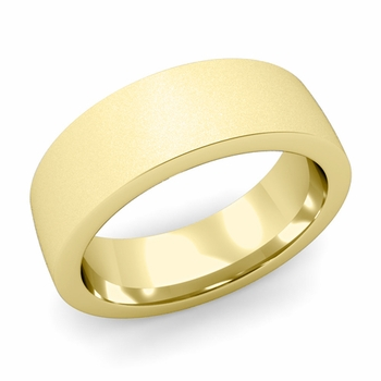 Flat Comfort Fit Wedding Band in 18k White or Yellow Gold, Satin Finish, 7mm