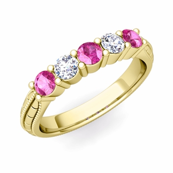 Milgrain Pink Sapphire and Diamond Wedding Band in 18k Gold 5 Stone Ring, 3mm