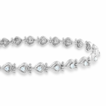 Diamond Heart Bracelet in 14k White Gold Link Bracelet G, SI2, 0.65 cttw 7 inches