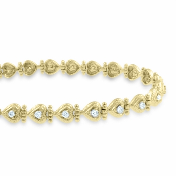 Diamond Heart Bracelet in 14k Yellow Gold Link Bracelet G, SI2, 0.65 cttw 7 inches