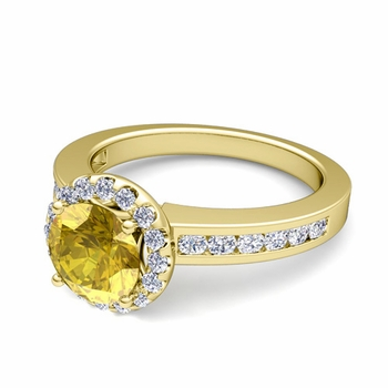 Diamond and Yellow Sapphire Halo Engagement Ring in 18k Gold Channel Set Ring, 7mm