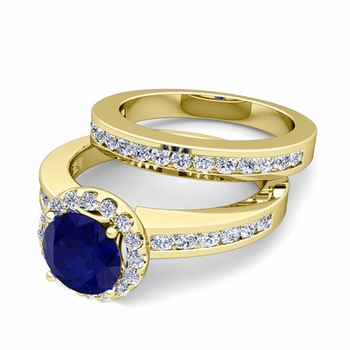 Halo Bridal Set: Diamond and Sapphire Engagement Wedding Ring in 18k Gold, 7mm