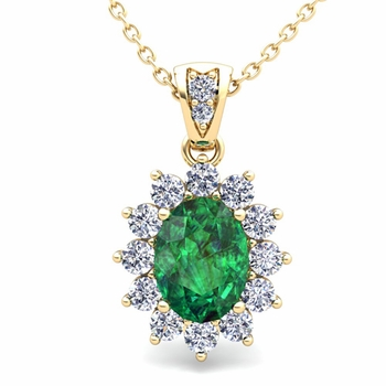 Diamond and Emerald Necklace in 18k Gold Halo Pendant 8x6mm