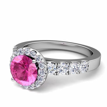 Brilliant Pave Set Diamond and Pink Sapphire Halo Engagement Ring in Platinum, 7mm